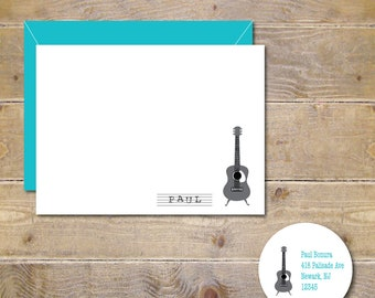 Guitar Thank You Cards, Guitar Note Cards, Guitars, Guitar Note Cards, Guitar Stationery, Guitar Stationary, Personalized Stationery
