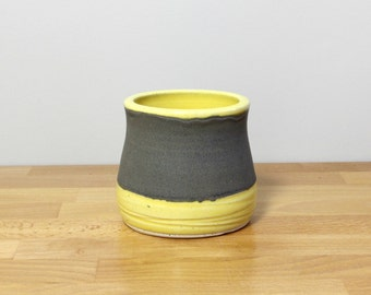 SALE!  Stoneware Small Tumbler, Stemless Wine glass, Ceramic Whiskey Cup, Juice Glass, Modern Ceramic Cup in Yellow and Gray by Nstarstudio