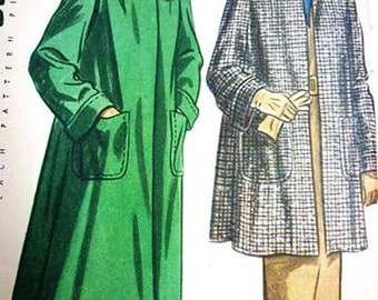 1940s Coat and Jacket Sewing Pattern - 1948 Vintage Long and 3/4 Length Swing Coat and Jacket Pattern by Simplicity 2331 Size 14 Bust 34
