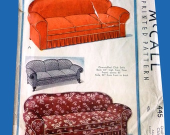Vintage 1930s McCall 445 Couch Slip Cover - 1936 Slip Cover Pattern for Overstuffed Club Sofa, with and without ruffles