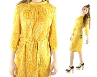 Vintage 70s Dress NOS Long Sleeves Yellow Paisley Print Belted Shift 1970s Hippie Boho Medium M