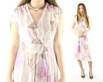 Vintage 70s Floral Dress Sheer White Lavender Wrap Full Skirt Short Sleeve Sundress 1970s Small S Hippie Boho Festival