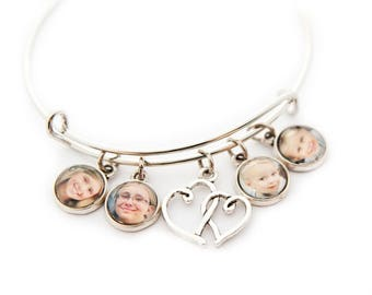 Personalized Photo Charm Bracelet Bangle, Custom Photo Bracelet, Gift for Mom, Custom Photo Jewelry, Photo Gift,