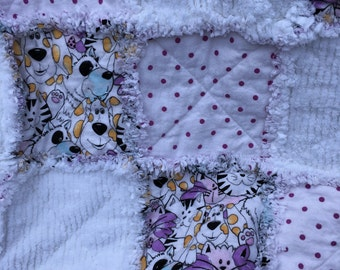 Dogs and Cats Flannel Baby Rag Quilt