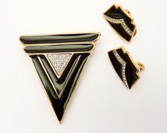 Vintage Monet Black Enamel Pin and Earring Set Art Deco Design 1980s