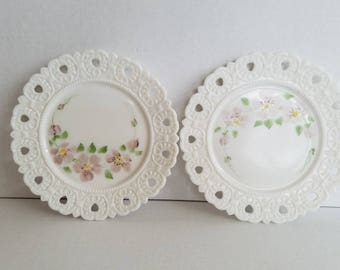 Vintage Pair of Hand Painted Purple Flower Milk Glass Decorative Plates