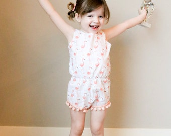 Baby Romper - Toddler Girl Outfit - Flamingo Romper - Peach Flamingo Pom Pom Playsuit - Flamingo Play Suit - Birthday Outfit - Easter Outfit