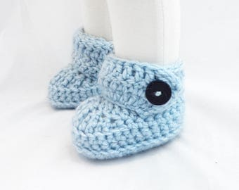 Buttoned Crochet Booties in Silver Blue - Ready to Ship