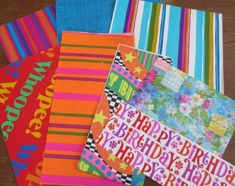 Vintage Wrapping Paper Lot - Bright Colors