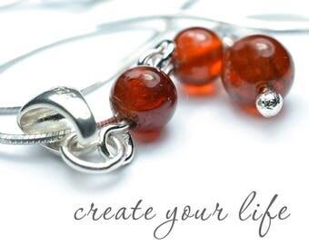 Hessonite Garnet Sacral Chakra Necklace, Meditation Pendant and Yoga Gift in in Gemstones & Sterling Silver or 14k Gold Filled