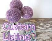 Custom Lisitng for Nicole - Pom pom flower bouquet WITH White Vase - Wool felt flowers - Craspedia - Round white pottery vase