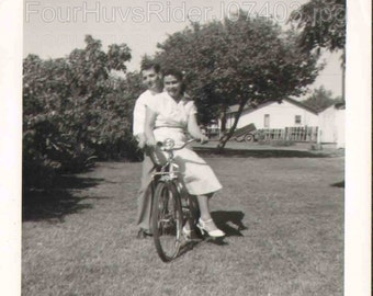 Vintage Photograph Man give Woman Ride on a Bicycle