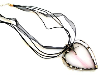 Stained glass heart pendant necklace, handmade glass pink heart, modern funky wire and glass heart gift for her, heart necklace
