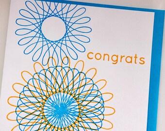 SALE - Congrats Letterpress card - Spirograph - 60% off
