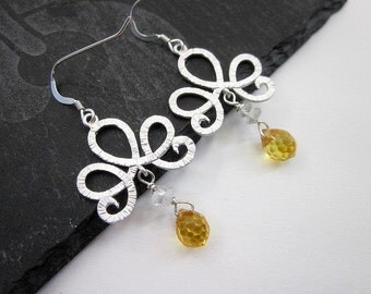 Yellow Cubic Zirconia Earrings -- Yellow & Silver Drop Earrings -- Scroll Earrings -- Yellow Dangle Earrings -- Sparkling Yellow Earrings