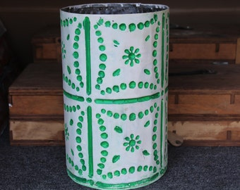 Dotted Green Wastebasket made from old tin
