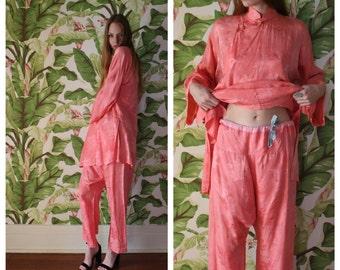 1920's Silk Pjs / Twenties / Gorgeous Salmon Pink Silk Lingerie / Japanese Loungewear / G.T. Marsh & Co. San Francisco / Gold Buttons