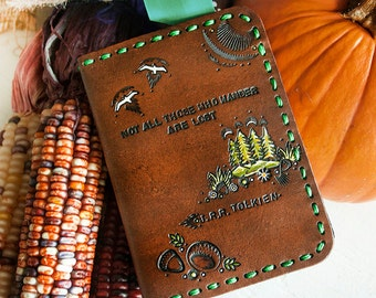 Leather Passport Cover - Woodland, Trees, Acorns and Mountains Wallet - Tolkien Quote - Not All Those Who Wander Are Lost - Made to Order