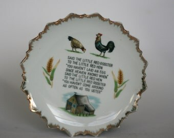 vintage little red hen plate by bradley exclusives japan