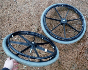 "Set of Two 24"" Wheels for Cart or Repurpose Project with Flat Free Insert (20 % DISCOUNT APPLIED)"