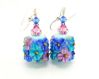 Blue Earrings, Floral Earrings, Lampwork Earrings, Glass Bead Earrings, Glass Earrings, Dangle Earrings, Barrel Earring, Chunky Earrings