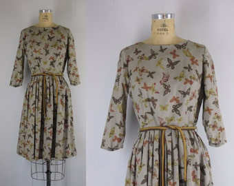 1960s Vintage Butterfly Print Dress