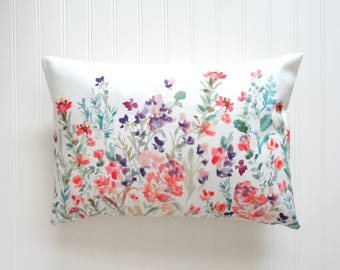 Spring Time Floral Pillow Covers,Square or Lumbar Sizes, Designer Floral Fabric, Watercolor Flowers Pillow Accent, Floral Lumbar Pillow