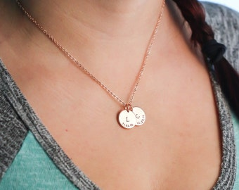 SALE - Children's Initial Necklace - Rose Gold Mommy Necklace - Personalized Rose Gold Initial Date Charm Necklace-Dainty Charm-New Mom Gift
