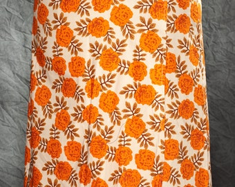 Orange Floral Wrap Skirt