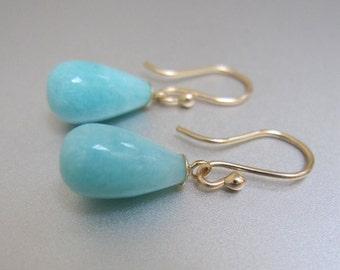 Amazonite Drops Solid 14k Gold Earrings
