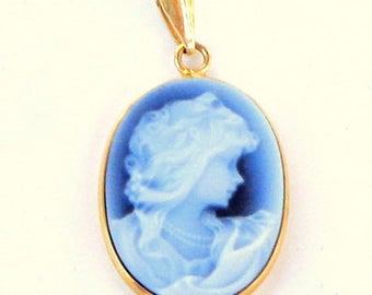 Beautiful Laser Carved Blue Banded Agate Cameo, 14KT Yellow Gold Pendant, Hallmarked 14KT Italy, Mother's Day Gift, Anniversary,or Birthday
