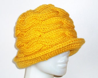 Mustard Yellow Cable Knit Winter Womens Hat with brim