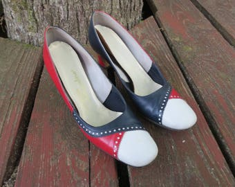 1960s Red, White & Blue Colorblock Vintage Women's Shoes in Box, Jacqueline, Dauphin Size 9