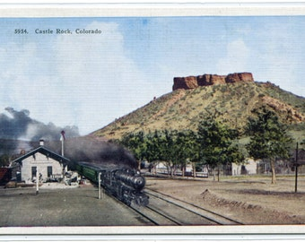 Castle Rock Railroad Train Depot Colorado linen postcard