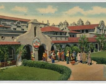 Indian Building Alvarado Hotel Albuquerque New Mexico 1944 postcard
