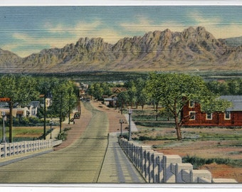 Organ Mountains and Viaduct Las Cruces New Mexico linen postcard