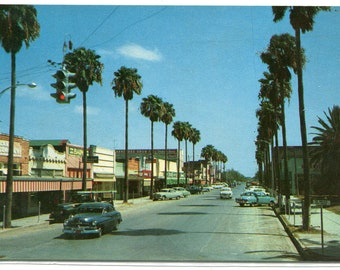 Main Street Scene Cars Mercedes Texas 1950s postcard