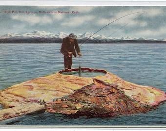 Fish Pot Fishing Hot Springs Yellowstone National Park Wyoming 1910c postcard