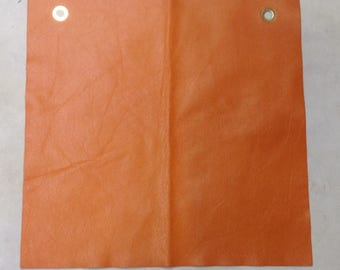 MS526. Tangelo Orange Leather Cowhide Remnant