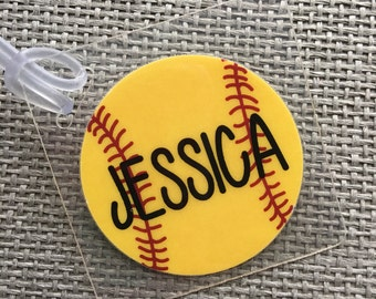 Softball Bag Tag, Softball Mom Gift, Softball Coach Gift, Softball Team Gift, Softball Party Favor, Softball Gift Personalized,Softball Girl