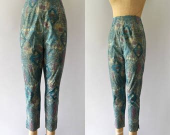 Vintage 1950s Pants - 50s Harlequin Print Cigarette Pants Trousers