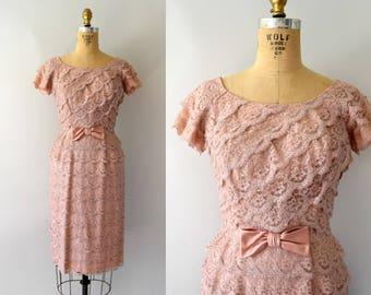Vintage 1950s Dress - 50s Rose Pink Lace Wiggle Dress