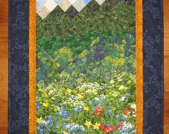 "Mountain Flowers Landscape Fabric Wall Hanging Art Quilt 22 x 42"" 100%  cotton fabrics"