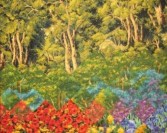 "Art Quilt Turquoise Waters Forest Trees Fabric Wall Hanging 37 x 22"" 100% Cotton Fabrics"