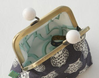NEW Bronze metal frame coin purse/ jewelry purse/white bobbles/white owls on blue grey