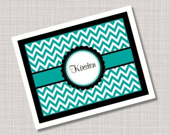 Custom Turquoise & Black Chevron Note Cards