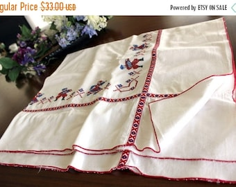 Linen Table Cloth, Cross Stitched Tablecloth, Table Topper, White and Red 13462