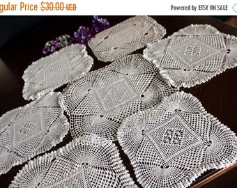 Art Deco, Sunrise Doilies Lot, 7 Vintage Crochet Off White and Whites, All Similar 13755