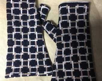 D70 blue white merino wool felt Fingerless Gloves for unisex  gifts upcycled wool hand Sewn geometric knit pattern gloves on double layer
