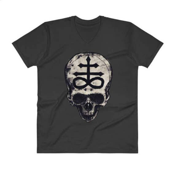 Luciferian Cross Skull Unisex V neck t shirt